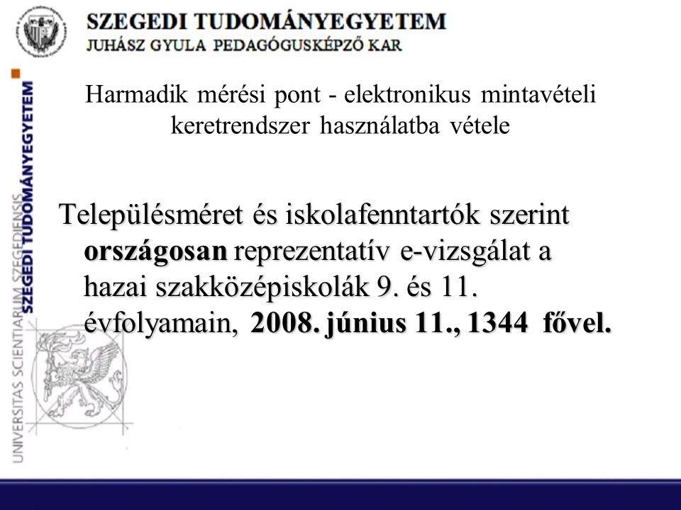 Harmadik mérési pont - elektronikus mintavételi keretrendszer használatba vétele Településméret és iskolafenntartók szerint országosan reprezentatív e-vizsgálat a hazai szakközépiskolák 9.