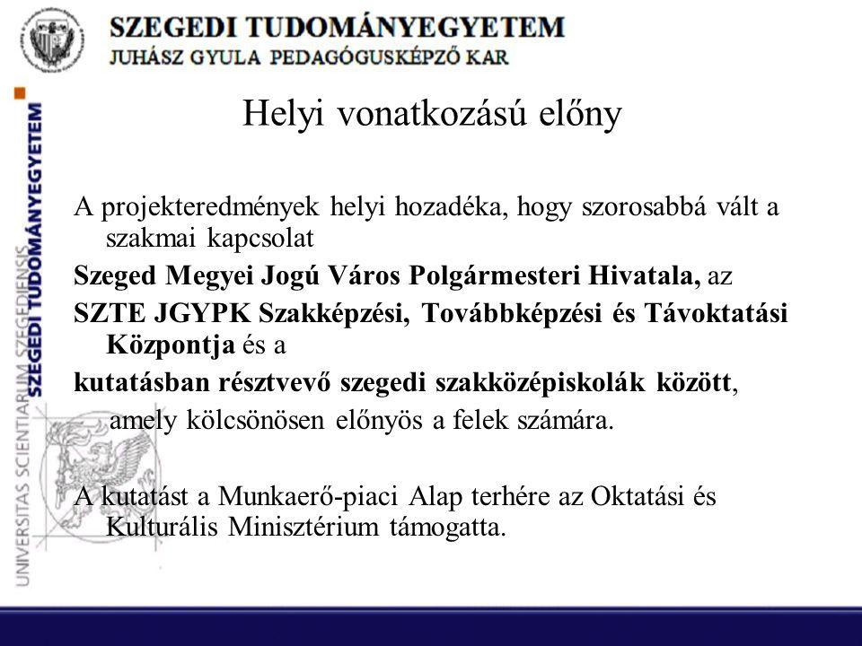 Helyi vonatkozású előny A projekteredmények helyi hozadéka, hogy szorosabbá vált a szakmai kapcsolat Szeged Megyei Jogú Város Polgármesteri Hivatala, az SZTE JGYPK Szakképzési, Továbbképzési és Távoktatási Központja és a kutatásban résztvevő szegedi szakközépiskolák között, amely kölcsönösen előnyös a felek számára.