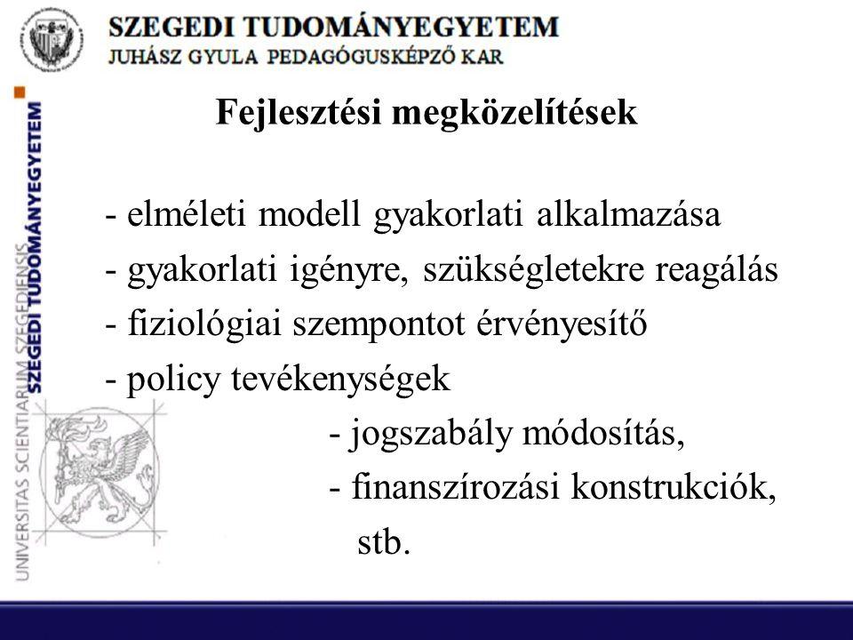 Fejlesztési megközelítések - elméleti modell gyakorlati alkalmazása - gyakorlati igényre, szükségletekre reagálás - fiziológiai szempontot érvényesítő - policy tevékenységek - jogszabály módosítás, - finanszírozási konstrukciók, stb.