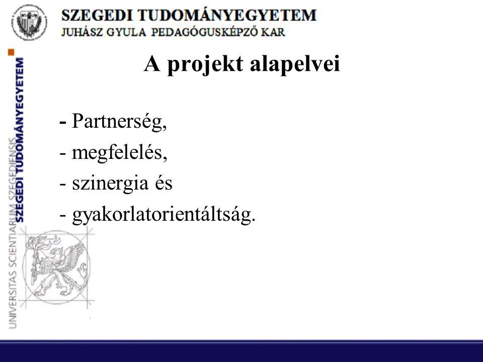 A projekt alapelvei - Partnerség, - megfelelés, - szinergia és - gyakorlatorientáltság.
