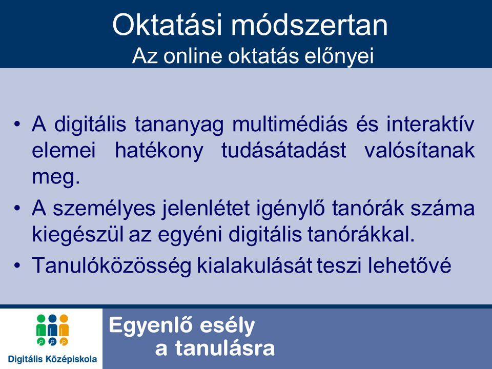 Oktatási módszertan Az online oktatás előnyei A digitális tananyag multimédiás és interaktív elemei hatékony tudásátadást valósítanak meg. A személyes