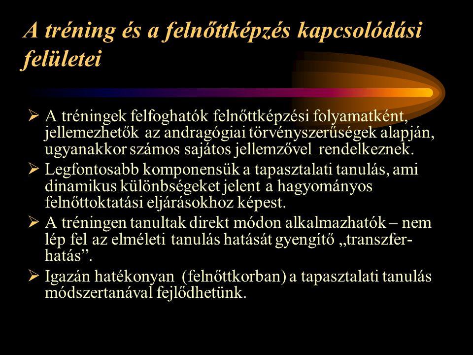 A tréning és a felnőttképzés kapcsolódási felületei  A tréningek felfoghatók felnőttképzési folyamatként, jellemezhetők az andragógiai törvényszerűsé