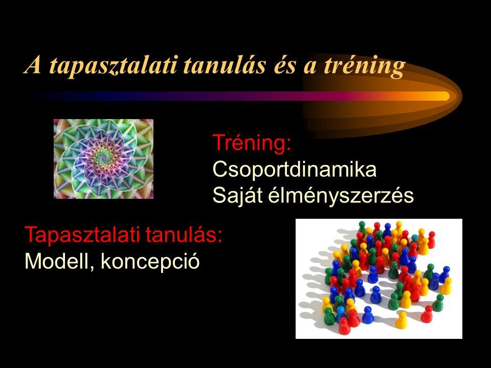 A tapasztalati tanulás és a tréning Tapasztalati tanulás: Modell, koncepció Tréning: Csoportdinamika Saját élményszerzés