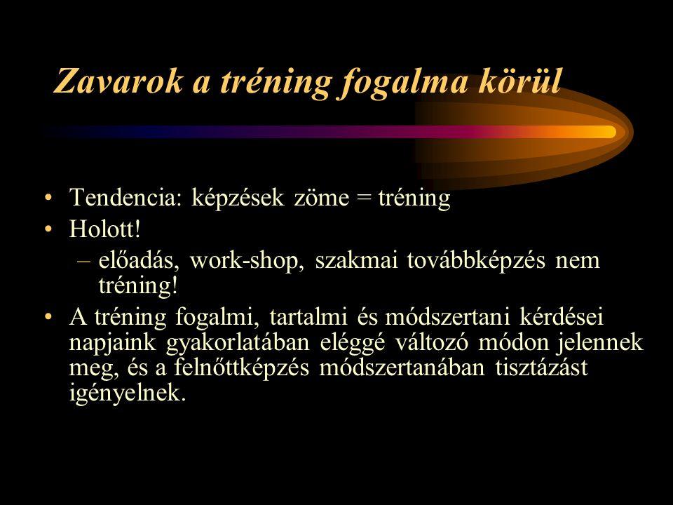 Zavarok a tréning fogalma körül Tendencia: képzések zöme = tréning Holott! –előadás, work-shop, szakmai továbbképzés nem tréning! A tréning fogalmi, t