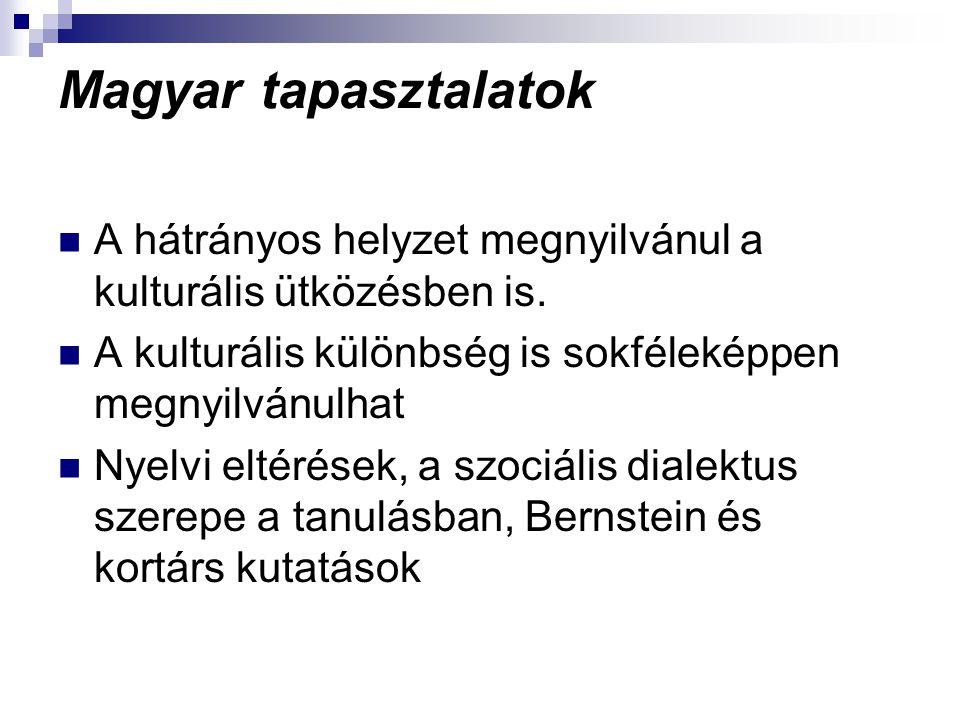 Magyar tapasztalatok A hátrányos helyzet megnyilvánul a kulturális ütközésben is. A kulturális különbség is sokféleképpen megnyilvánulhat Nyelvi eltér