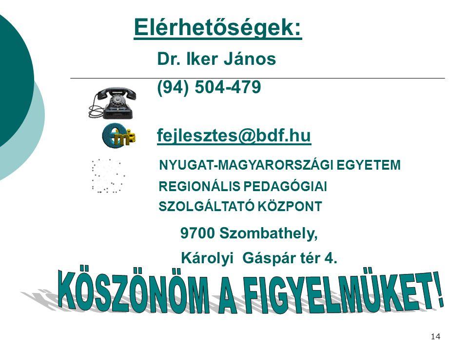 14 Elérhetőségek: Dr. Iker János (94) 504-479 fejlesztes@bdf.hu NYUGAT-MAGYARORSZÁGI EGYETEM REGIONÁLIS PEDAGÓGIAI SZOLGÁLTATÓ KÖZPONT 9700 Szombathel