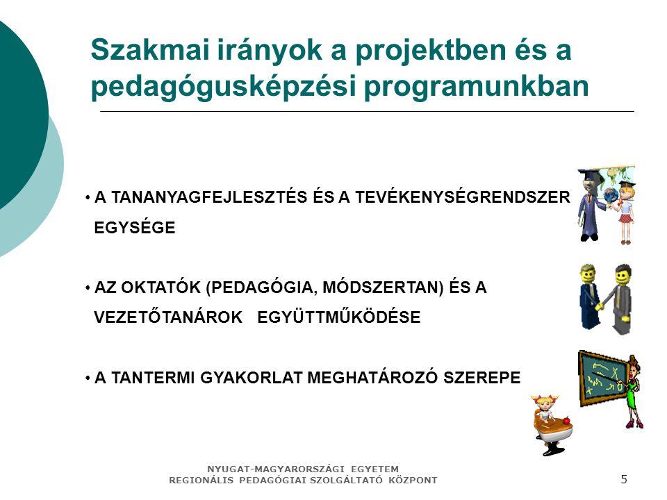 NYUGAT-MAGYARORSZÁGI EGYETEM REGIONÁLIS PEDAGÓGIAI SZOLGÁLTATÓ KÖZPONT 5 Szakmai irányok a projektben és a pedagógusképzési programunkban A TANANYAGFEJLESZTÉS ÉS A TEVÉKENYSÉGRENDSZER EGYSÉGE AZ OKTATÓK (PEDAGÓGIA, MÓDSZERTAN) ÉS A VEZETŐTANÁROK EGYÜTTMŰKÖDÉSE A TANTERMI GYAKORLAT MEGHATÁROZÓ SZEREPE