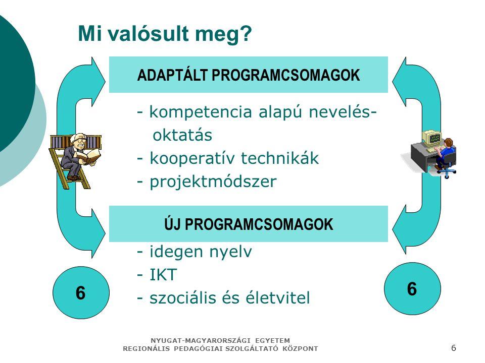 NYUGAT-MAGYARORSZÁGI EGYETEM REGIONÁLIS PEDAGÓGIAI SZOLGÁLTATÓ KÖZPONT 6 Mi valósult meg? adaptált programcsomagok: - kompetencia alapú nevelés- oktat