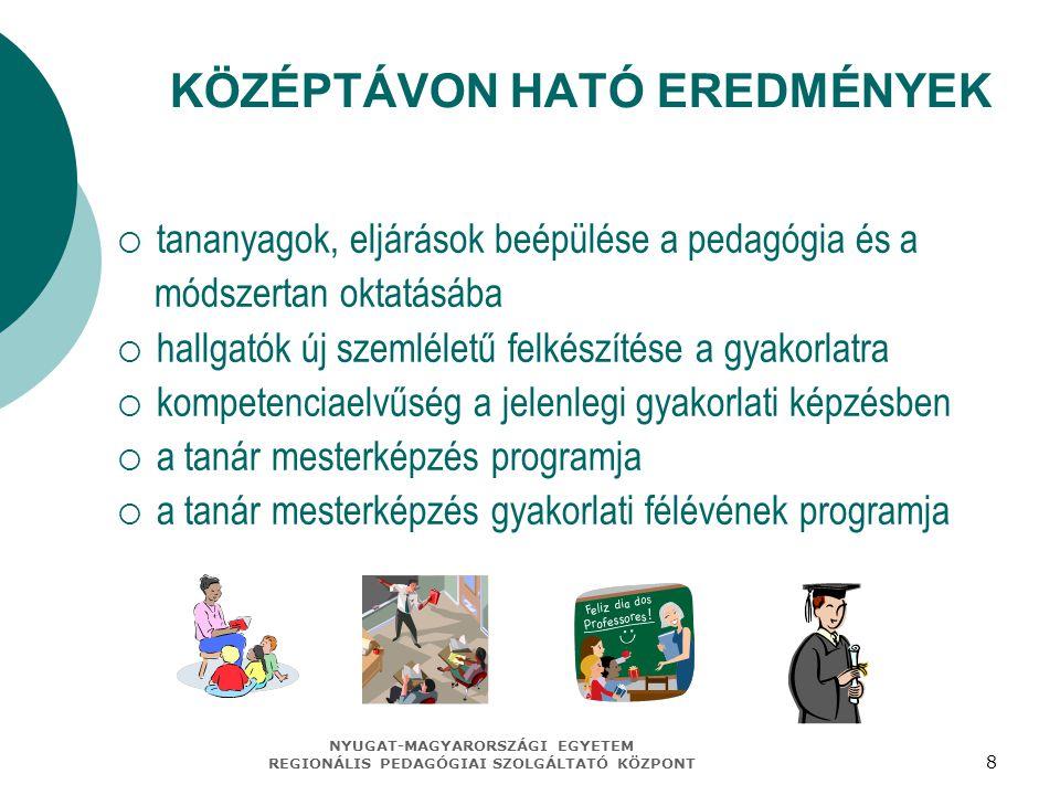 NYUGAT-MAGYARORSZÁGI EGYETEM REGIONÁLIS PEDAGÓGIAI SZOLGÁLTATÓ KÖZPONT 8 KÖZÉPTÁVON HATÓ EREDMÉNYEK  tananyagok, eljárások beépülése a pedagógia és a módszertan oktatásába  hallgatók új szemléletű felkészítése a gyakorlatra  kompetenciaelvűség a jelenlegi gyakorlati képzésben  a tanár mesterképzés programja  a tanár mesterképzés gyakorlati félévének programja