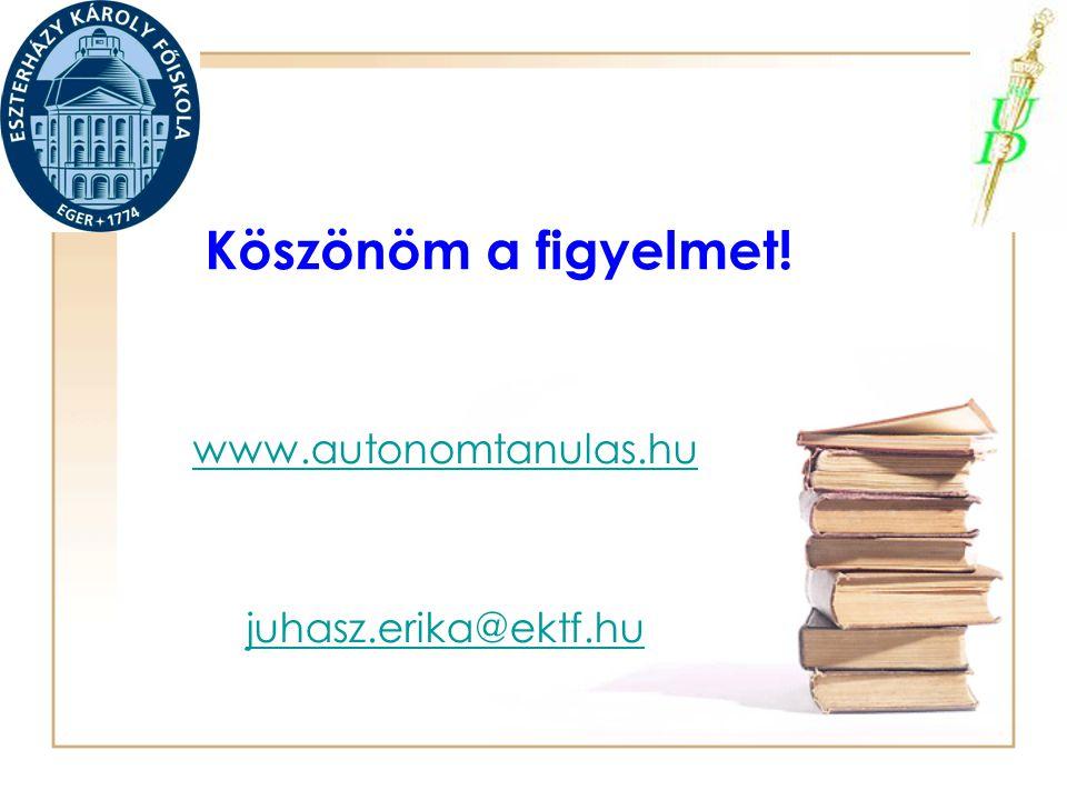 Köszönöm a figyelmet! www.autonomtanulas.hu juhasz.erika@ektf.hu