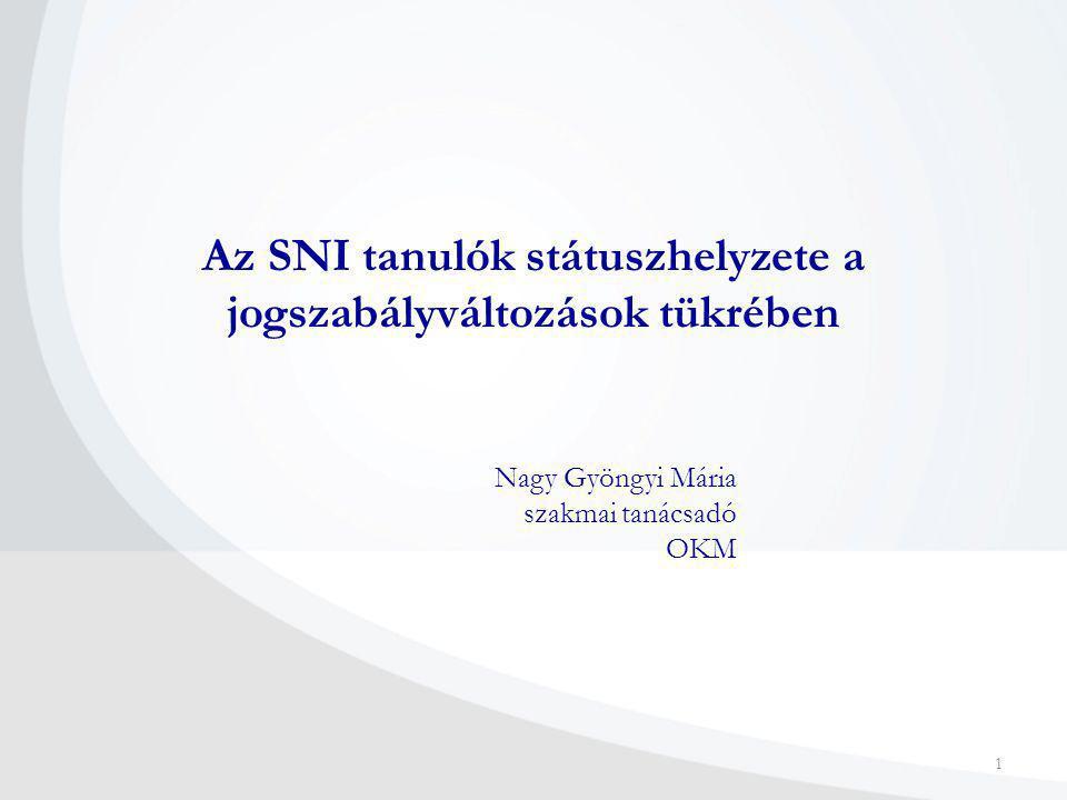 1 Az SNI tanulók státuszhelyzete a jogszabályváltozások tükrében Nagy Gyöngyi Mária szakmai tanácsadó OKM