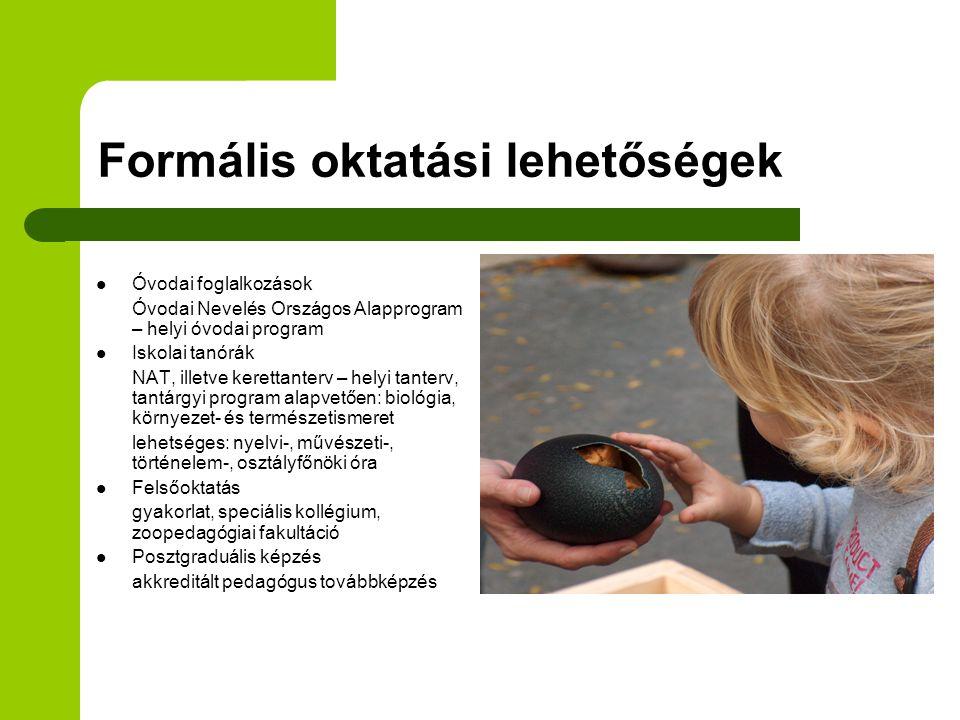 Pedagógusoknak Akkreditált továbbképzés (60 órás) Módszertani tréning Szakmai tájékoztató Helyi tantervek és nevelési programok tervezése Kiadványok Segédanyagok Nyílt Napok ZOOPED Klub