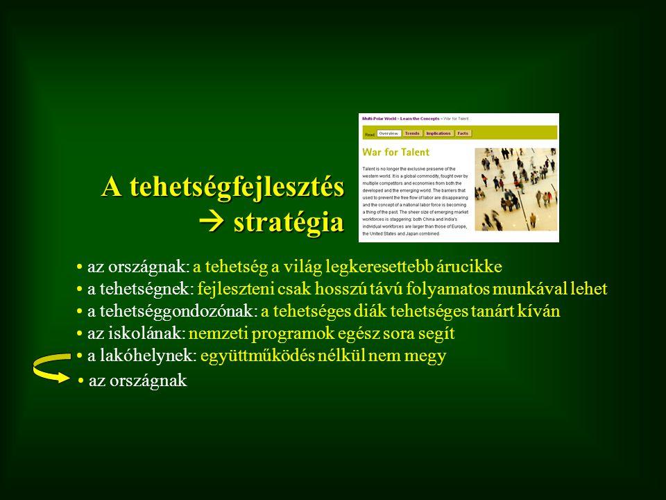 Magyar Géniusz Program Közoktatás iskolai programok, versenyek (pályázat, 1,7 Mrd Ft, okt.) tanoda program (részelem) Felsőoktatás karrier-irodák, versenyek, szakkollégiumok (részelem) Nemzeti Kiválósági Program (2008-2013, 44 MrdFt) Nemzeti Kiválóságok Kollégiuma (PPP) Magyar Géniusz Integrált Tehetségsegítő Program kiemelt program (2008-2011: 700 mFt) pályázatos rész (2008-2011: 3 Mrd Ft, nov.) Részletek: www.tehetsegpont.hu