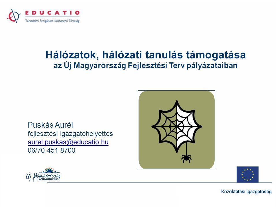 Hálózatok, hálózati tanulás támogatása az Új Magyarország Fejlesztési Terv pályázataiban Puskás Aurél fejlesztési igazgatóhelyettes aurel.puskas@educa