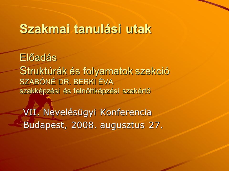 Szakmai tanulási utak Előadás S truktúrák és folyamatok szekció SZABÓNÉ DR.