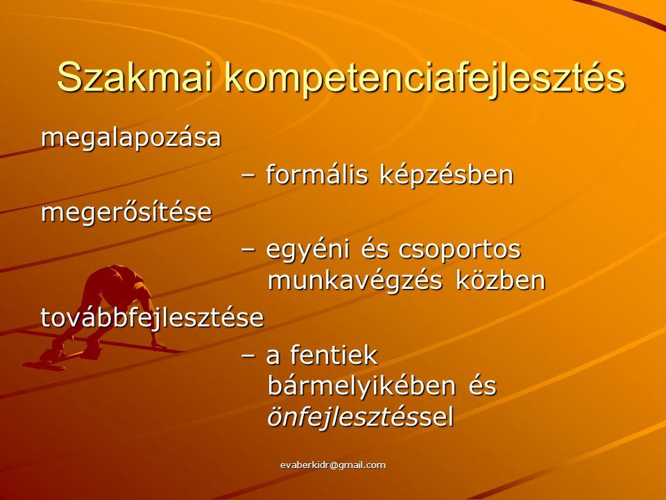 evaberkidr@gmail.com Szakmai kompetenciafejlesztés megalapozása – formális képzésben megerősítése – egyéni és csoportos munkavégzés közben továbbfejlesztése – a fentiek bármelyikében és önfejlesztéssel