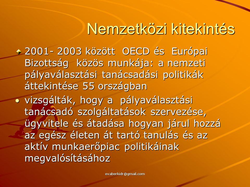 evaberkidr@gmail.com Nemzetközi kitekintés 2001- 2003 között OECD és Európai Bizottság közös munkája: a nemzeti pályaválasztási tanácsadási politikák áttekintése 55 országban vizsgálták, hogy a pályaválasztási tanácsadó szolgáltatások szervezése, ügyvitele és átadása hogyan járul hozzá az egész életen át tartó tanulás és az aktív munkaerőpiac politikáinak megvalósításához