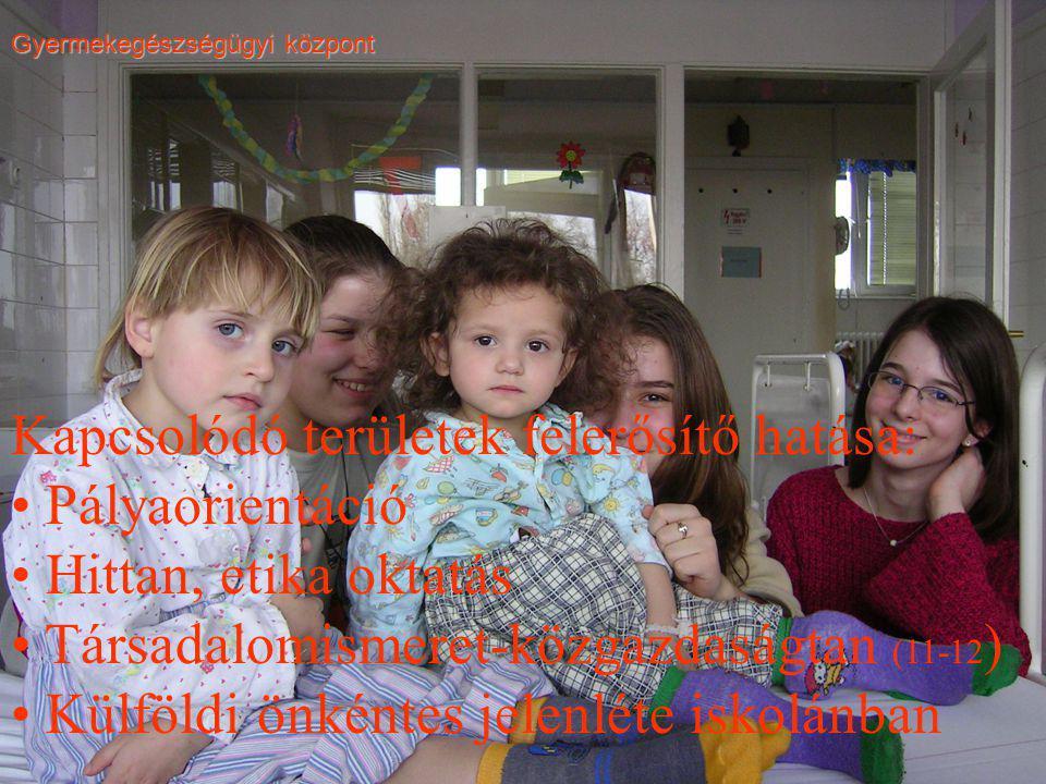 Gyermekegészségügyi központ Kapcsolódó területek felerősítő hatása: Pályaorientáció Hittan, etika oktatás Társadalomismeret-közgazdaságtan (11-12 ) Külföldi önkéntes jelenléte iskolánban
