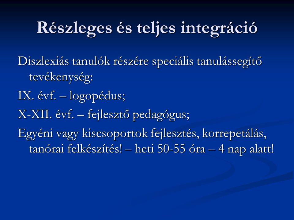 Részleges és teljes integráció Diszlexiás tanulók részére speciális tanulássegítő tevékenység: IX.