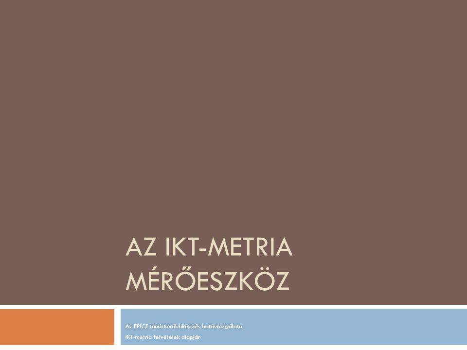 AZ IKT-METRIA MÉRŐESZKÖZ Az EPICT tanártovábbképzés hatásvizsgálata IKT-metria felvételek alapján