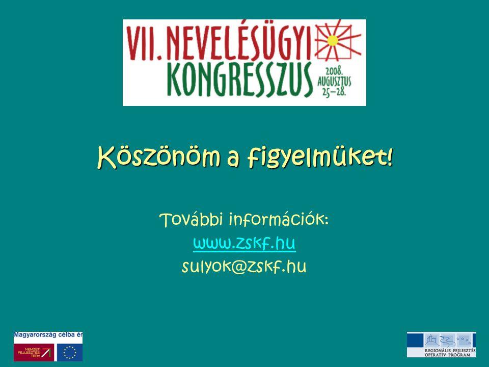 Köszönöm a figyelmüket! További információk: www.zskf.hu sulyok@zskf.hu