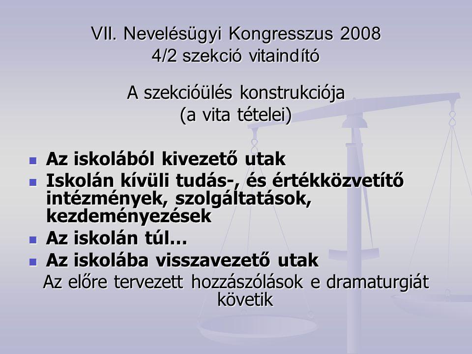 VII. Nevelésügyi Kongresszus 2008 4/2 szekció vitaindító A szekcióülés konstrukciója (a vita tételei) Az iskolából kivezető utak Az iskolából kivezető