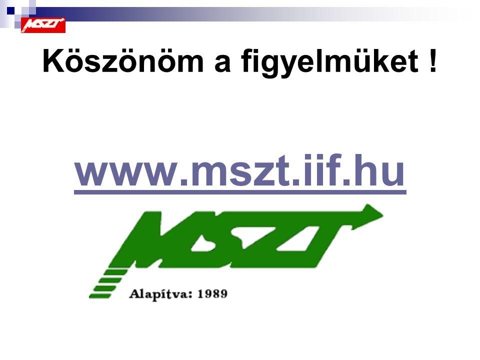 Köszönöm a figyelmüket ! www.mszt.iif.hu