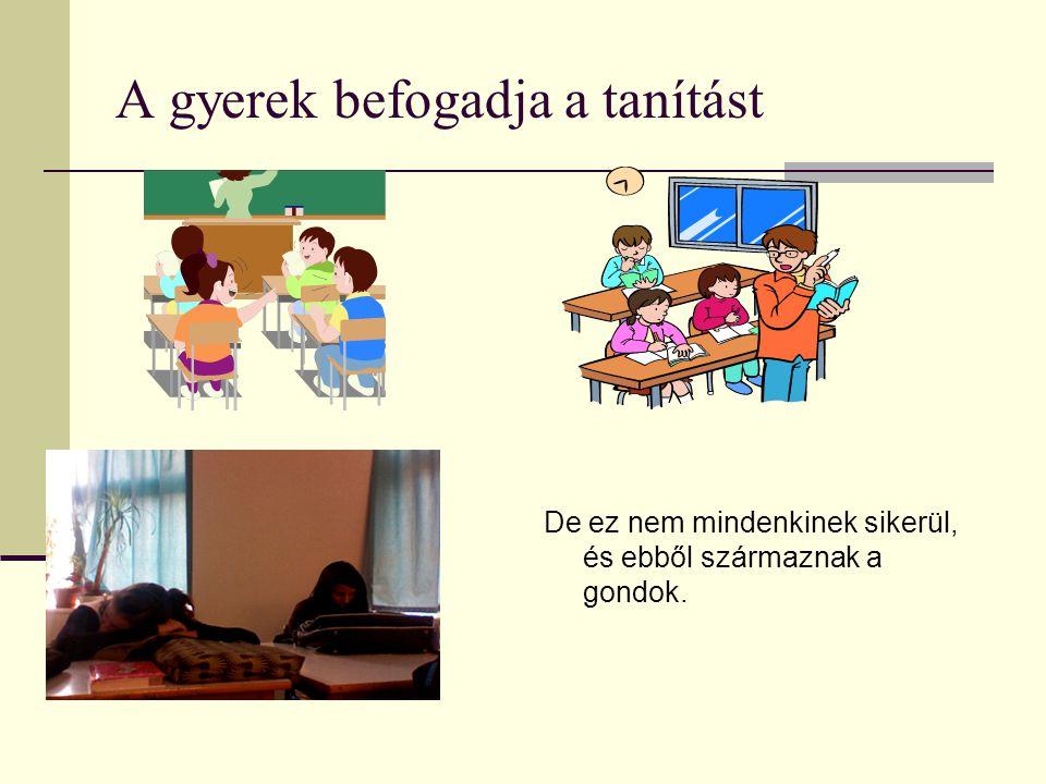 A gyerek befogadja a tanítást De ez nem mindenkinek sikerül, és ebből származnak a gondok.