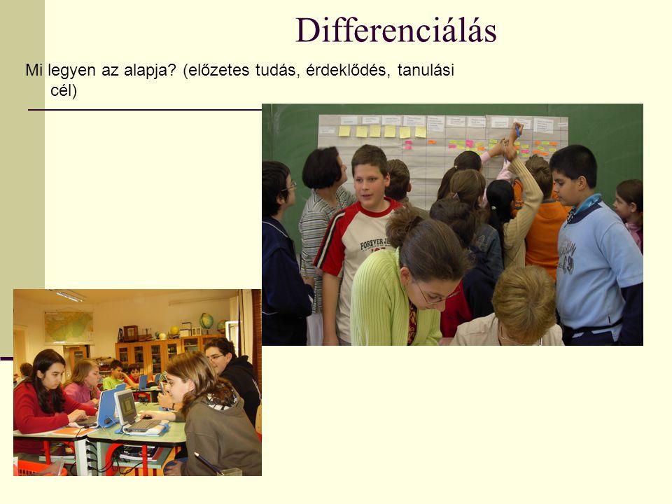 Differenciálás Mi legyen az alapja? (előzetes tudás, érdeklődés, tanulási cél)
