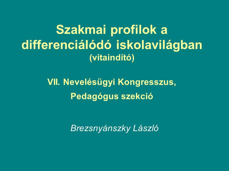 Szakmai profilok a differenciálódó iskolavilágban (vitaindító) VII.