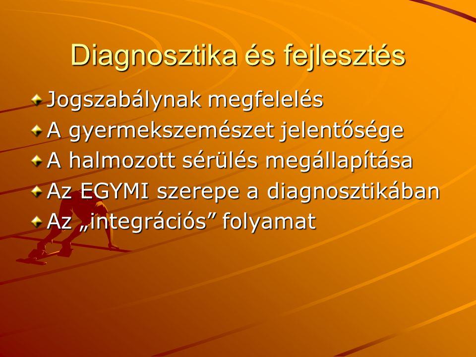 """Diagnosztika és fejlesztés Jogszabálynak megfelelés A gyermekszemészet jelentősége A halmozott sérülés megállapítása Az EGYMI szerepe a diagnosztikában Az """"integrációs folyamat"""