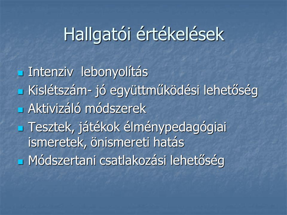 Intenziv lebonyolítás Intenziv lebonyolítás Kislétszám- jó együttműködési lehetőség Kislétszám- jó együttműködési lehetőség Aktivizáló módszerek Aktiv