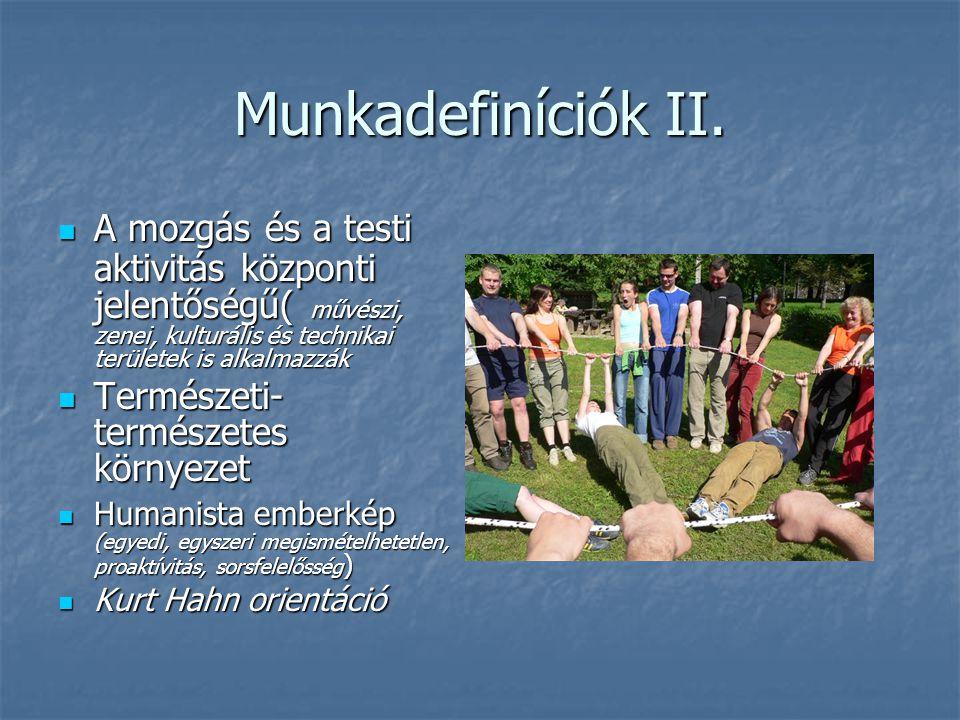 Munkadefiníciók II. A mozgás és a testi aktivitás központi jelentőségű( művészi, zenei, kulturális és technikai területek is alkalmazzák A mozgás és a