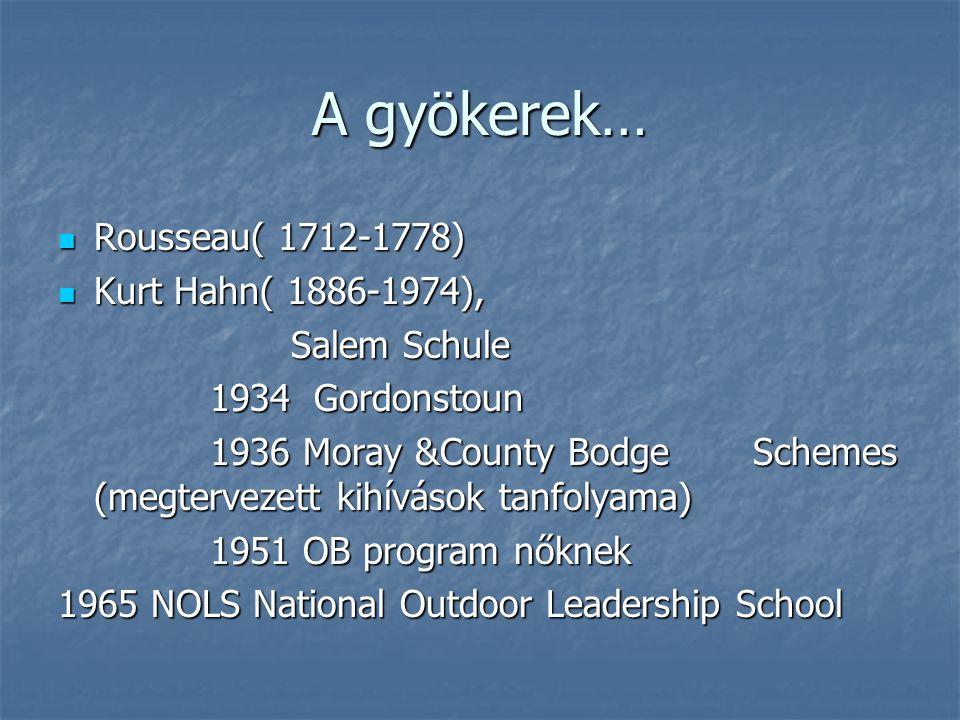 A gyökerek… Rousseau( 1712-1778) Rousseau( 1712-1778) Kurt Hahn( 1886-1974), Kurt Hahn( 1886-1974), Salem Schule Salem Schule 1934 Gordonstoun 1934 Go