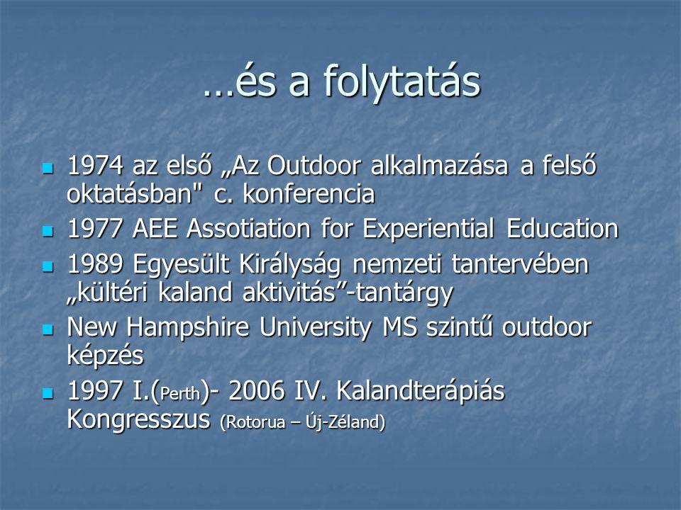 """…és a folytatás 1974 az első """"Az Outdoor alkalmazása a felső oktatásban"""