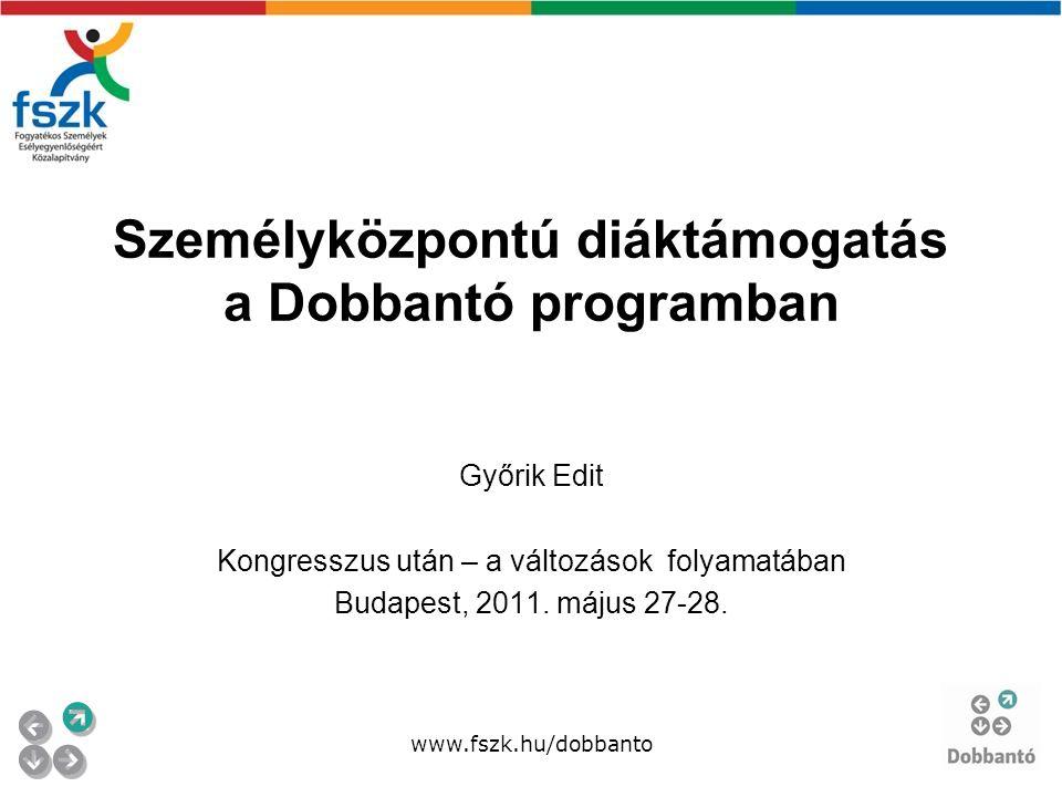 Személyközpontú diáktámogatás a Dobbantó programban Győrik Edit Kongresszus után – a változások folyamatában Budapest, 2011.