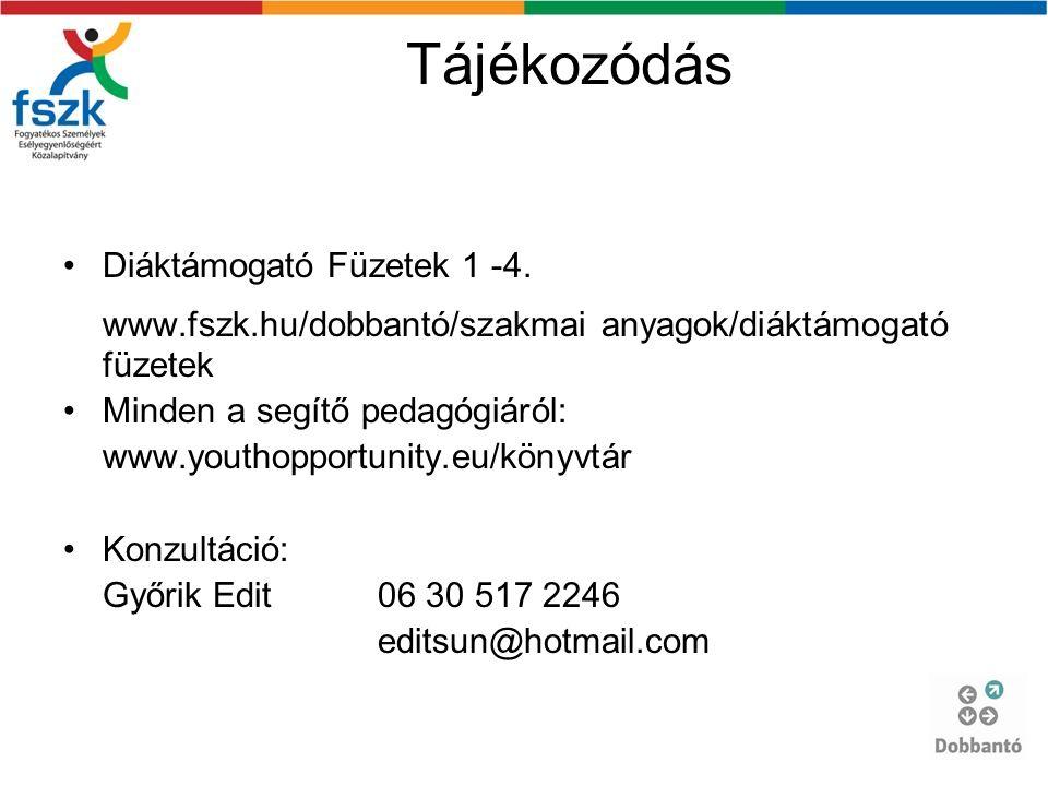 Tájékozódás Diáktámogató Füzetek 1 -4.