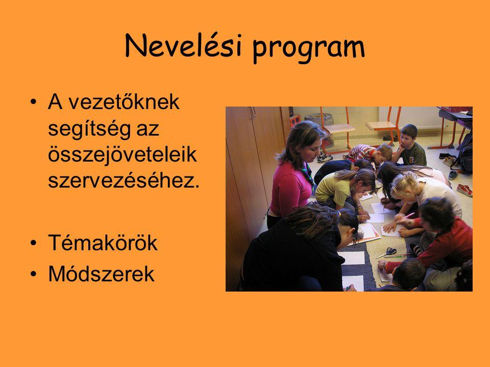 Nevelési program A vezetőknek segítség az összejöveteleik szervezéséhez. Témakörök Módszerek