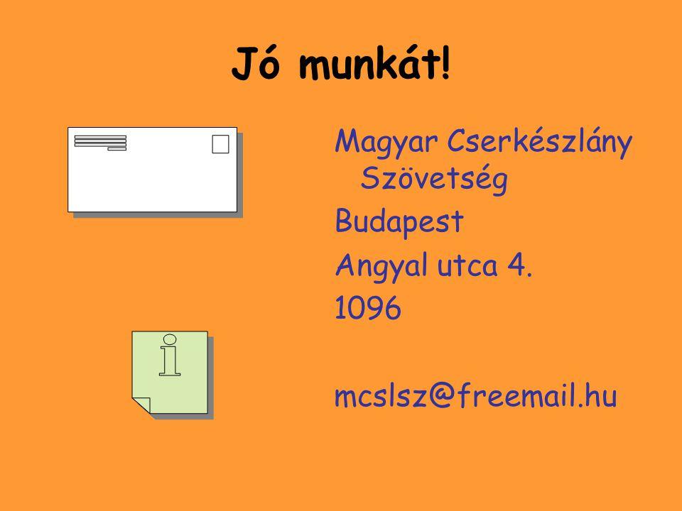 Jó munkát! Magyar Cserkészlány Szövetség Budapest Angyal utca 4. 1096 mcslsz@freemail.hu