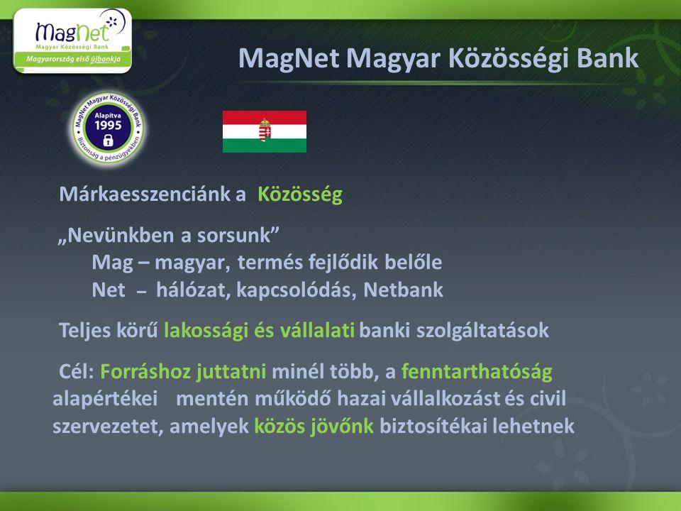 """MagNet Magyar Közösségi Bank Márkaesszenciánk a Közösség """"Nevünkben a sorsunk Mag – magyar, termés fejlődik belőle Net – hálózat, kapcsolódás, Netbank Teljes körű lakossági és vállalati banki szolgáltatások Cél: Forráshoz juttatni minél több, a fenntarthatóság alapértékei mentén működő hazai vállalkozást és civil szervezetet, amelyek közös jövőnk biztosítékai lehetnek"""