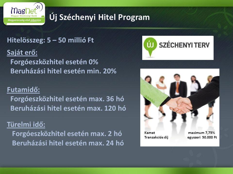Új Széchenyi Hitel Program Hitelösszeg: 5 – 50 millió Ft Saját erő: Forgóeszközhitel esetén 0% Beruházási hitel esetén min.
