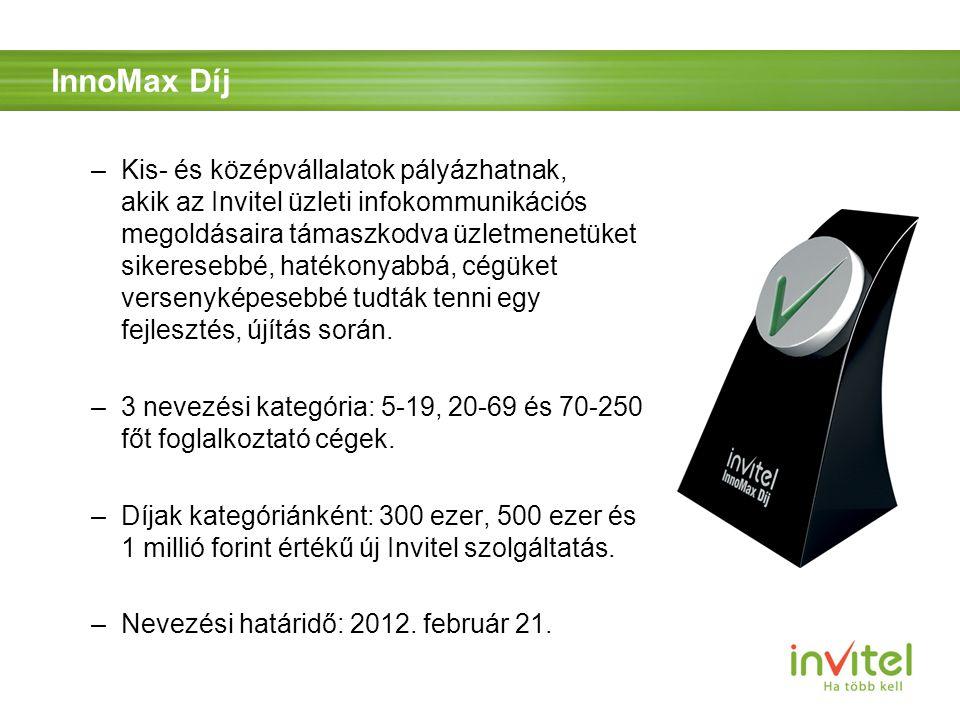 InnoMax Díj –Kis- és középvállalatok pályázhatnak, akik az Invitel üzleti infokommunikációs megoldásaira támaszkodva üzletmenetüket sikeresebbé, hatékonyabbá, cégüket versenyképesebbé tudták tenni egy fejlesztés, újítás során.