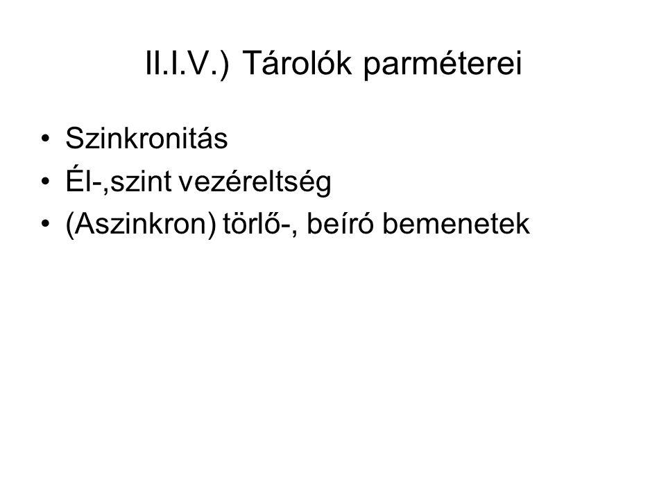 II.I.V.) Tárolók parméterei Szinkronitás Él-,szint vezéreltség (Aszinkron) törlő-, beíró bemenetek