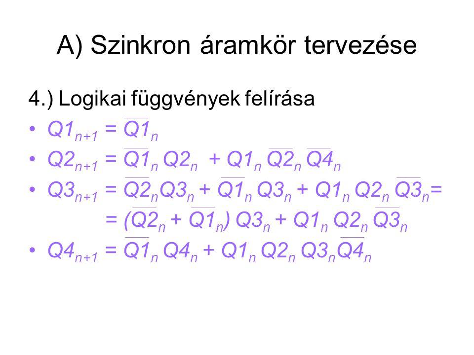 A) Szinkron áramkör tervezése 4.) Logikai függvények felírása Q1 n+1 = Q1 n Q2 n+1 = Q1 n Q2 n + Q1 n Q2 n Q4 n Q3 n+1 = Q2 n Q3 n + Q1 n Q3 n + Q1 n Q2 n Q3 n = = (Q2 n + Q1 n ) Q3 n + Q1 n Q2 n Q3 n Q4 n+1 = Q1 n Q4 n + Q1 n Q2 n Q3 n Q4 n
