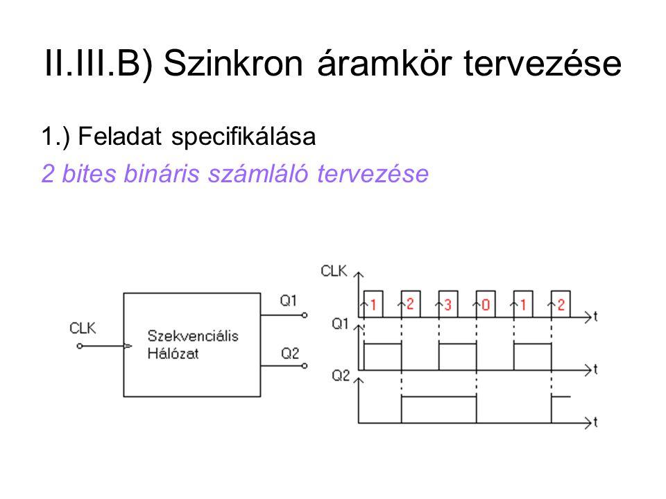 II.III.B) Szinkron áramkör tervezése 1.) Feladat specifikálása 2 bites bináris számláló tervezése