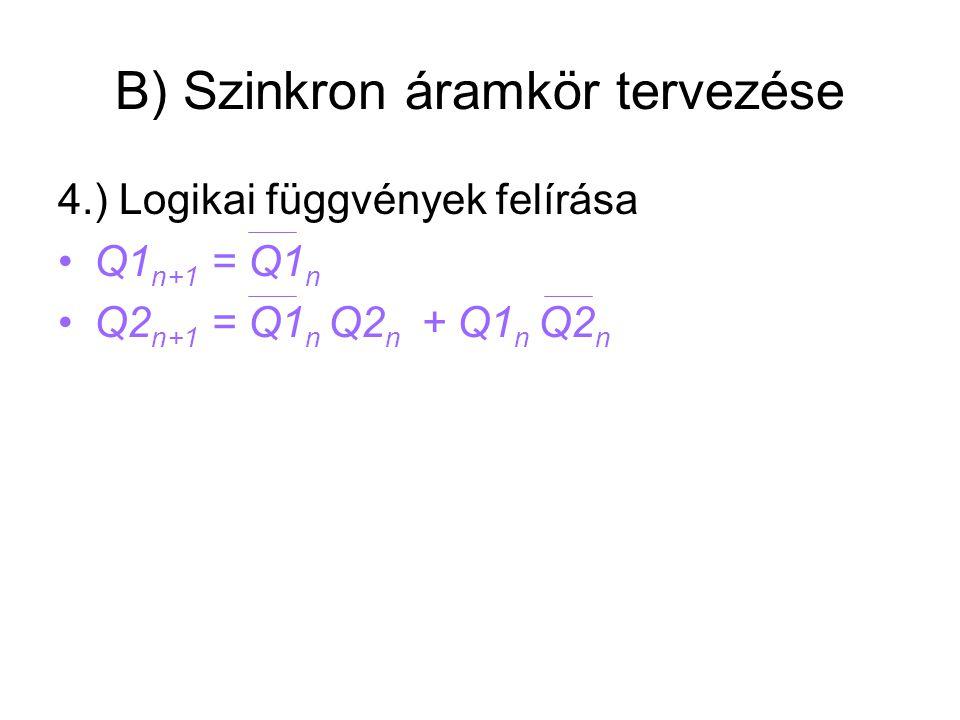 B) Szinkron áramkör tervezése 4.) Logikai függvények felírása Q1 n+1 = Q1 n Q2 n+1 = Q1 n Q2 n + Q1 n Q2 n