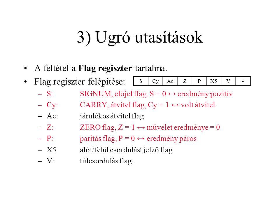 A feltétel a Flag regiszter tartalma.