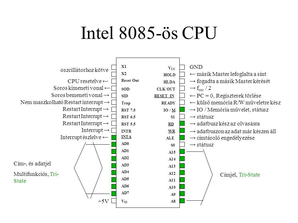 """Szubrutin hívás CALL """"utasítás SP-be az aktuális PC cím beírása (ide tér vissza), szubrutin hívása, 3B, kód: CD RETSP-ből PC feltöltése, 1B, kód: C9 H"""