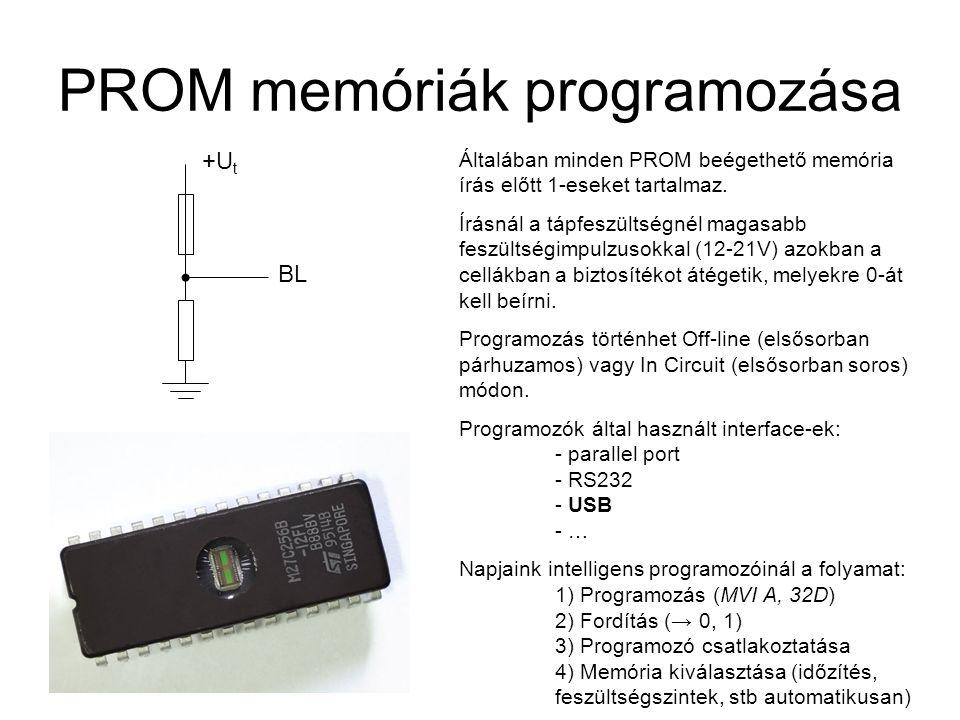 PROM memóriák programozása +U t BL Általában minden PROM beégethető memória írás előtt 1-eseket tartalmaz. Írásnál a tápfeszültségnél magasabb feszült