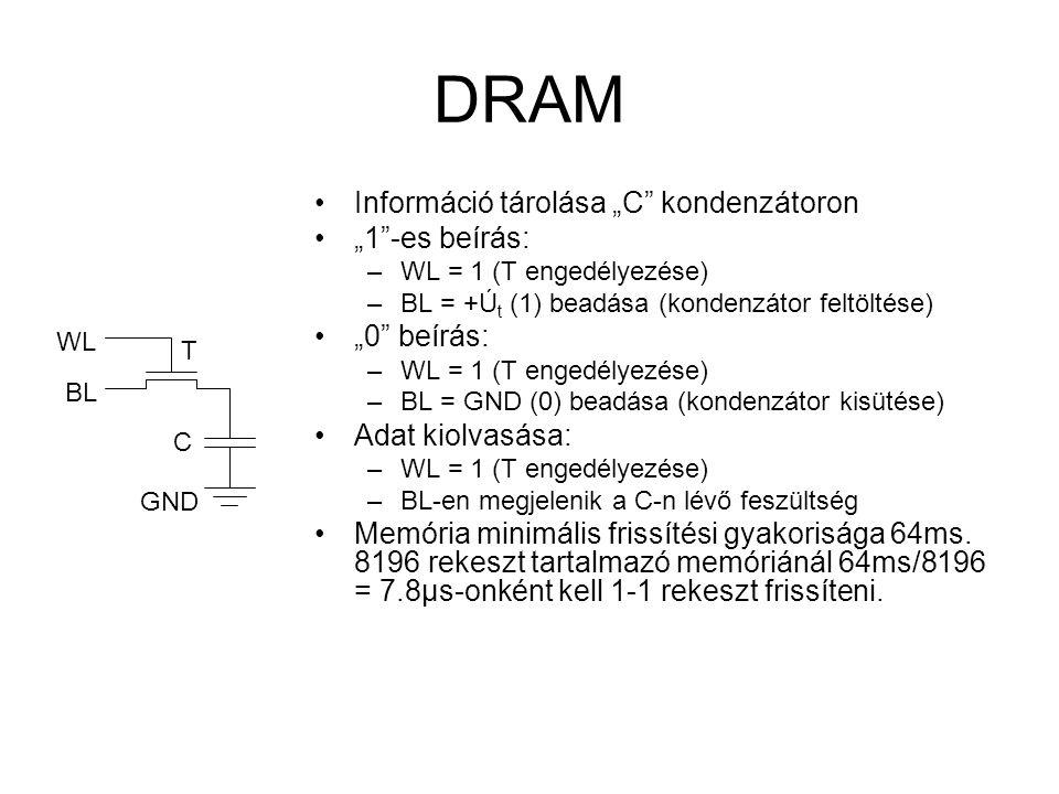 """DRAM Információ tárolása """"C"""" kondenzátoron """"1""""-es beírás: –WL = 1 (T engedélyezése) –BL = +Ú t (1) beadása (kondenzátor feltöltése) """"0"""" beírás: –WL ="""